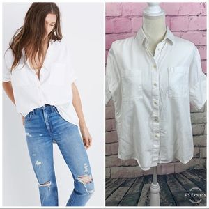 Madewell White Cotton button down courier shirt S